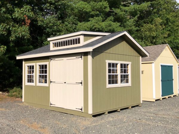 12' x 16' New England Ranch T1-11 shed with studio dormer