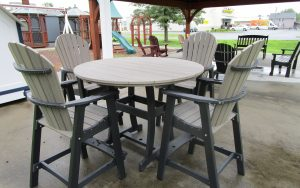 54 round bar table and chair poly set