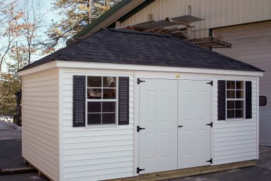 white moveable shed