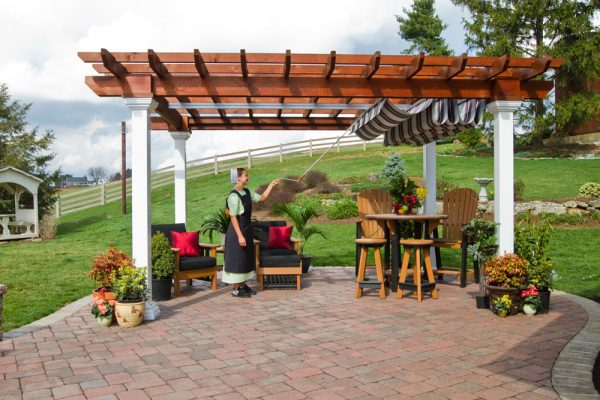 burgundy black & white ez shade canopy 12x16 artisan wood pergola (1)