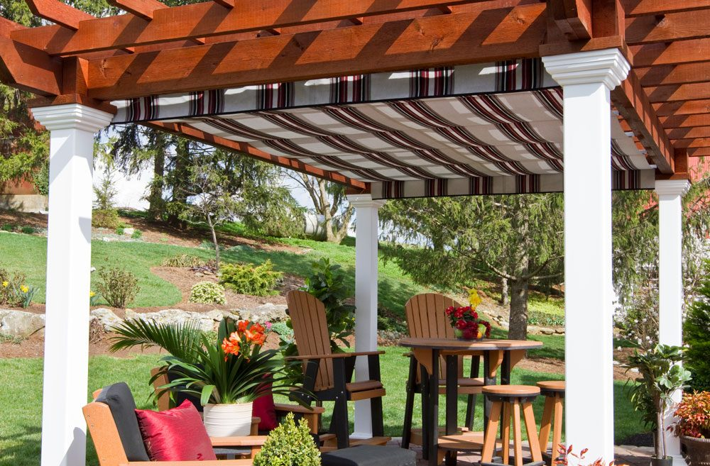 burgundy black & white ez shade canopy 12x16 artisan wood pergola (3)