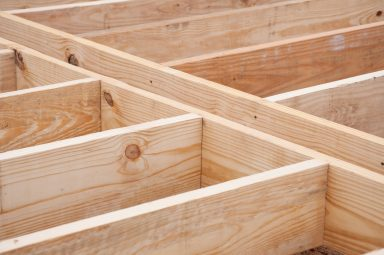floor joists made of lumber on construction site