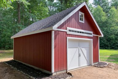 pre built sheds with garage door