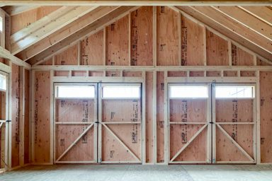 pre built sheds with wooden doors
