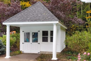garden sheds attached to pavilion