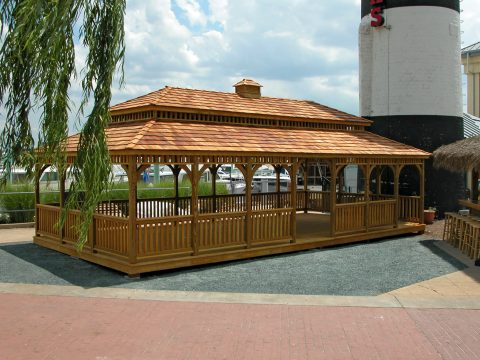 rectangular wooden gazebo