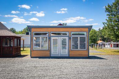 cedar modern backyard shed