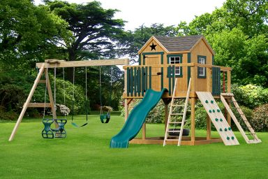 wooden swing sets with playhouse