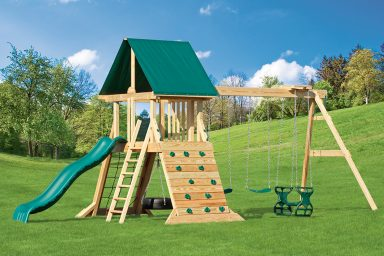 wooden swing sets with rock climbing
