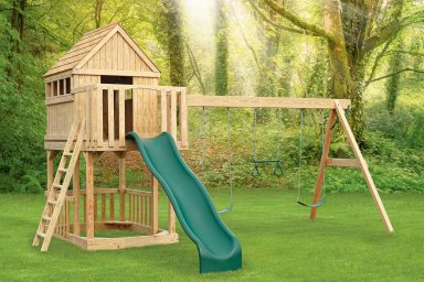 wooden swing sets with roof