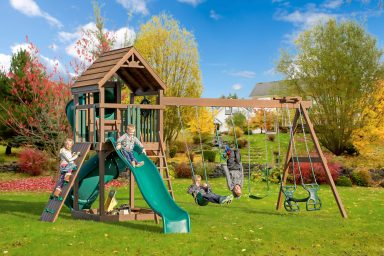 wooden swing sets with slide