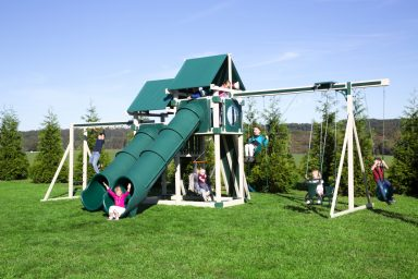 vinyl swing sets with tunnel slides