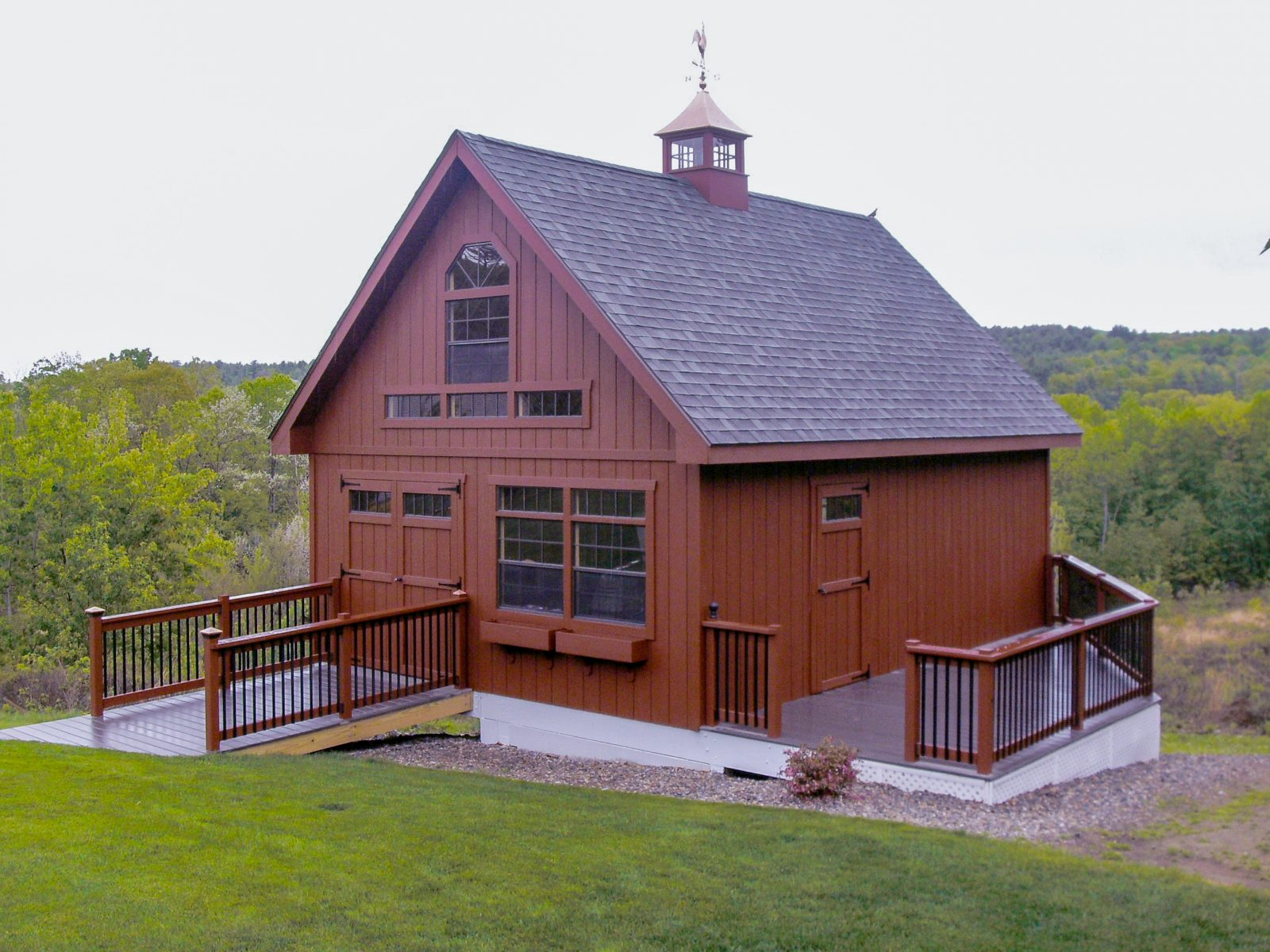a frame two story shed