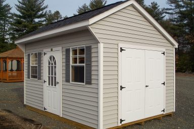 saltbox shed with double doors