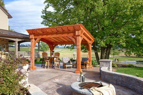 wooden backyard pergola