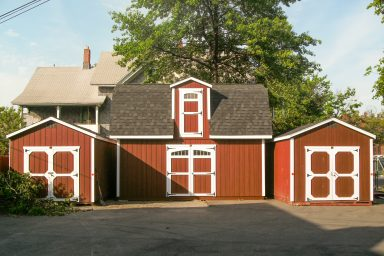 red 2 story shed