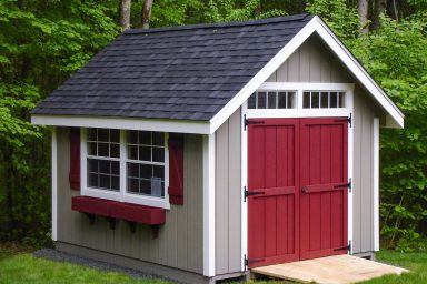 country shed with double red doors