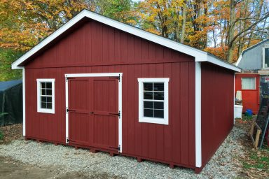 red large ranch shed