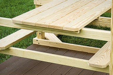built in picnic table