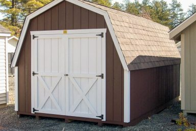 brown gambrel shed