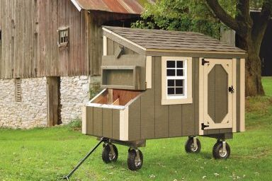chicken coop accessories avocado l35 with optional wheels and handle front view 384x384